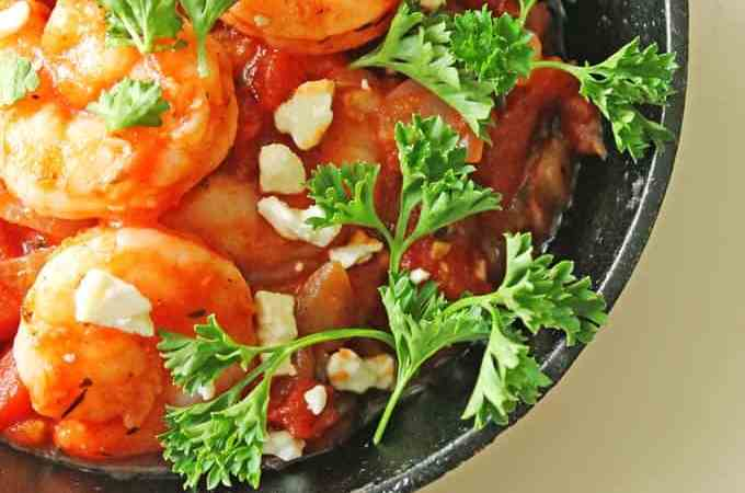 Shrimp in garlicky tomato sauce with feta