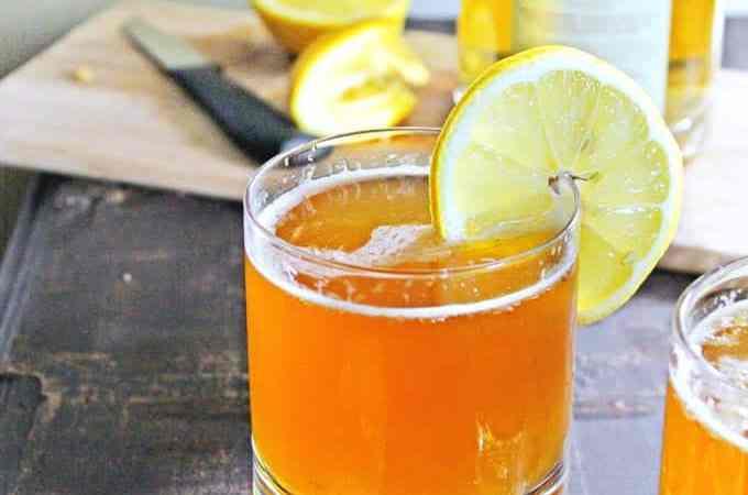 RHUBARB lemon shandy cocktail