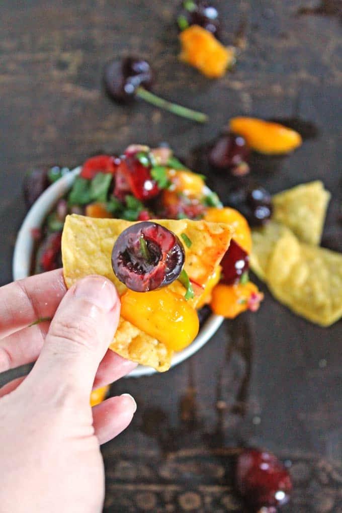 Spicy mango cherry salsa // Rhubarbarians