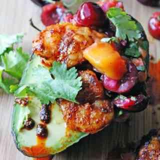 Spicy shrimp and mango cherry salsa avocado boats // Rhubarbarians