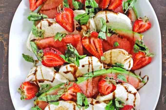 Strawberry watermelon caprese salad