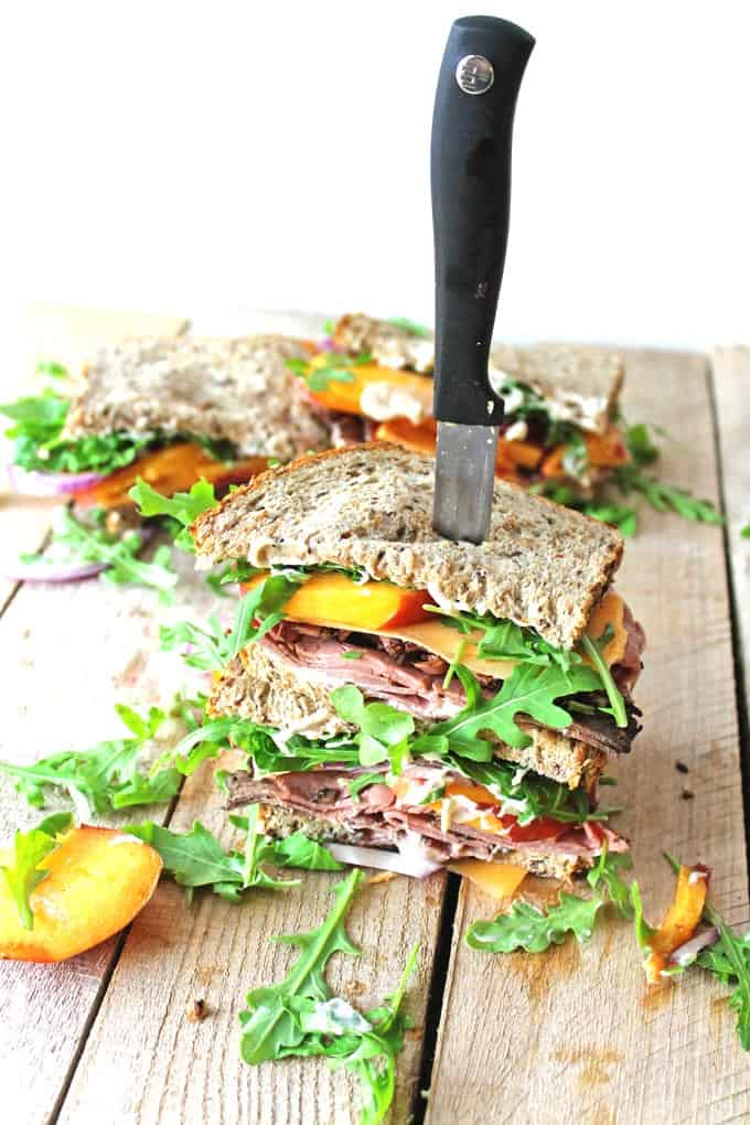 Peach and pastrami sandwiches with peppery mayo // Rhubarbarians