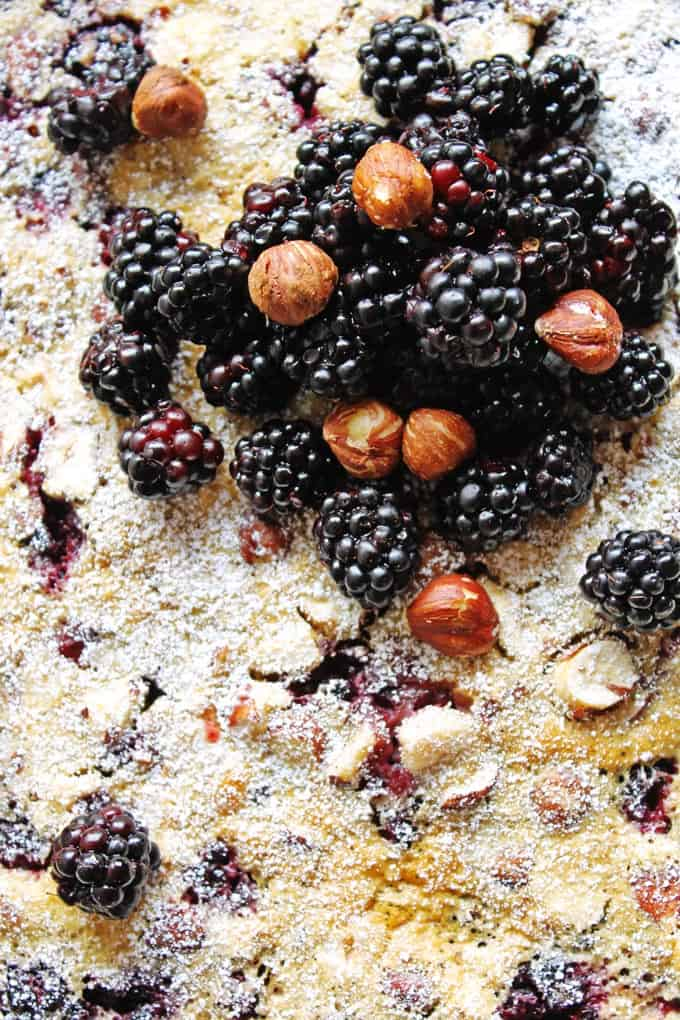 Simple and delicious blackberry hazelnut clafoutis recipe! Perfect for your next breakfast OR dessert!