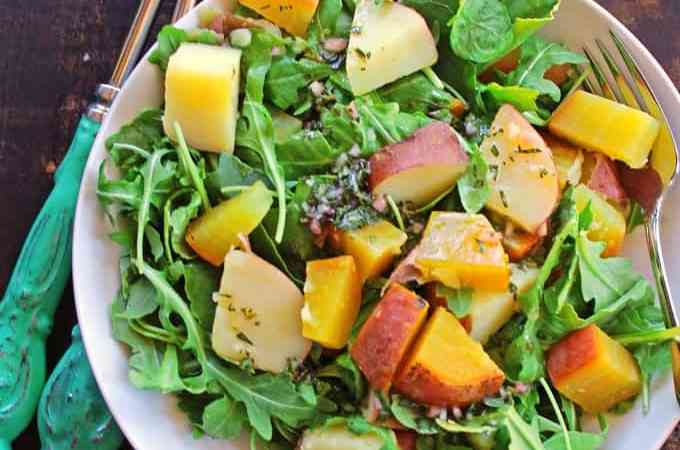 Golden beet, potato, and arugula salad with tarragon vinaigrette