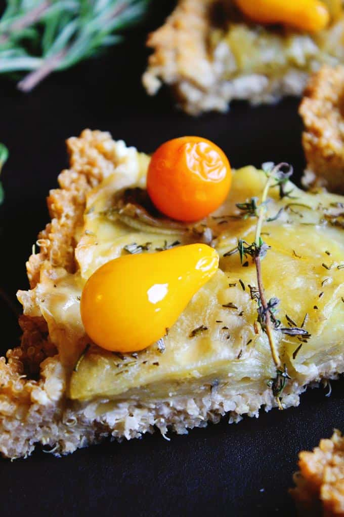 Potato tart with chevre, tomato, and quinoa crust! Delicious gluten free, vegetarian tart with savory goat cheese, thyme, and a crispy, healthy, quinoa crust! YUM!