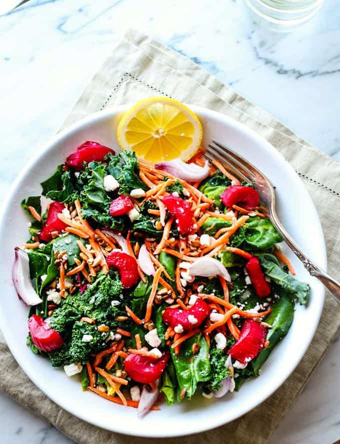 Honey roasted rhubarb power greens salad + 15 of the BEST vegetarian rhubarb recipes from around the web!