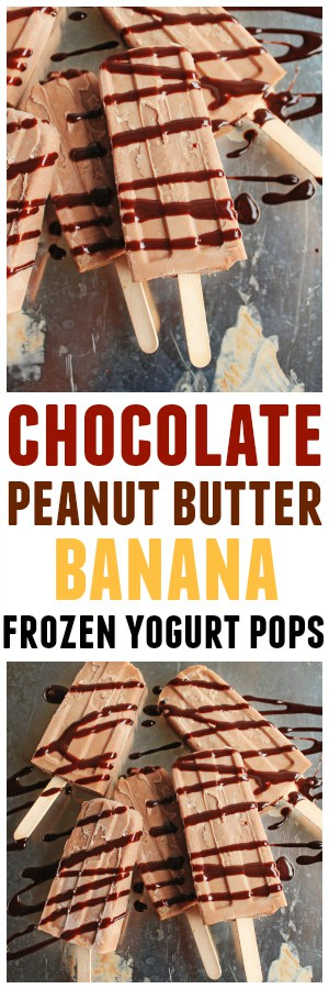 Chocolate peanut butter banana frozen yogurt pops! A healthy(ish), yet decadent recipe for chocolatey, peanut buttery, banana-y, creamy popsicles. Refined sugar-free, vegetarian, gluten free, DELICIOUS!