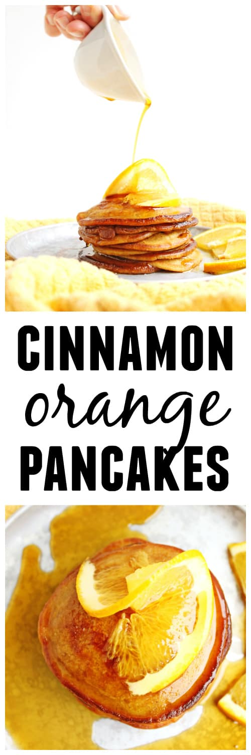 Buttermilk cinnamon orange pancakes recipe! These crispy, old fashioned pancakes are made with buttermilk and a hint of orange and cinnamon. YUM! The perfect holiday breakfast!