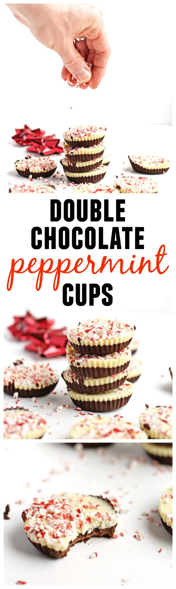 4 ingredient Double chocolate peppermint cups recipe! A wonderful holiday food gift made in only an hour! Or an easier way to make and enjoy peppermint bark this holiday season. SO GOOD! - Rhubarbarians