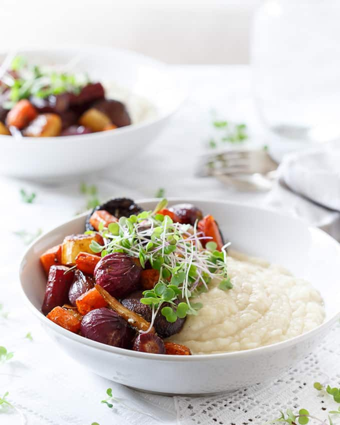 Celery root puree with balsamic roasted vegetables + 15 Farmers market recipes to make in January! Delicious, winter, (mostly) healthy recipes made with fresh, seasonal produce from your local farmers market or CSA bin. Eat local!
