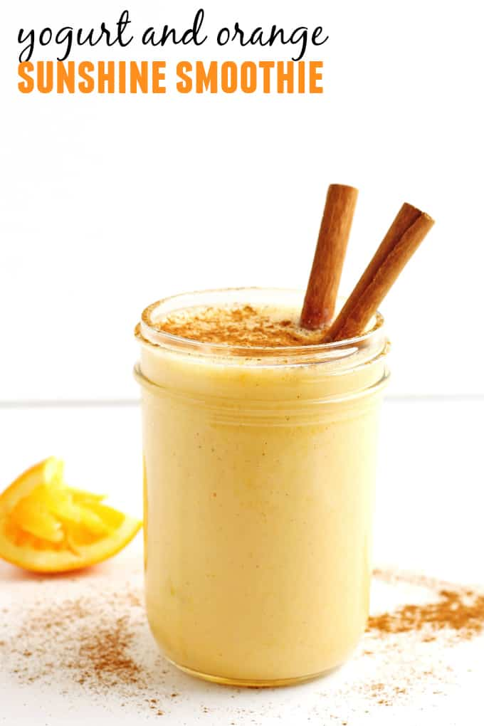 Sunshine yogurt orange smoothie with vanilla and cinnamon! Easy 4 ingredient recipe for a bright, refreshing, healthy smoothie. Perfect for breakfast or as a snack! - Rhubarbarians