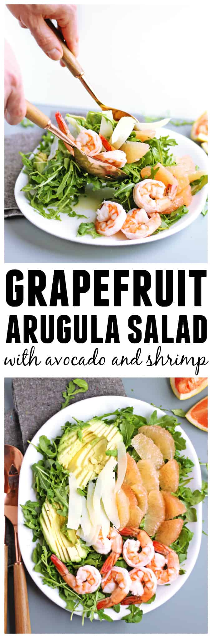 Grapefruit arugula salad with avocado and shrimp! Quick and easy recipe for a delicious, healthy, winter salad. The perfect weeknight dinner! - Rhubarbarians