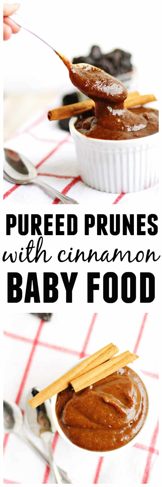 Naturally help your baby's digestion with this homemade baby food recipe! Quick and easy pureed prunes with cinnamon are naturally sweetened, and taste absolutely delicious. SO EASY! // Rhubarbarians