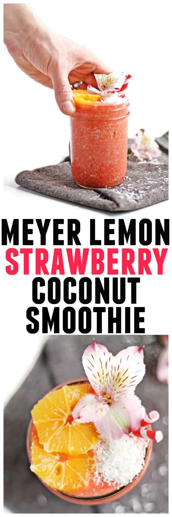 The perfect spring time smoothie! This tropical, refreshing meyer lemon strawberry smoothie with coconut includes an entire meyer lemon. A no waste recipe! Vegan, gluten free, clean eating, sugar free, dairy free, amazing. // Rhubarbarians