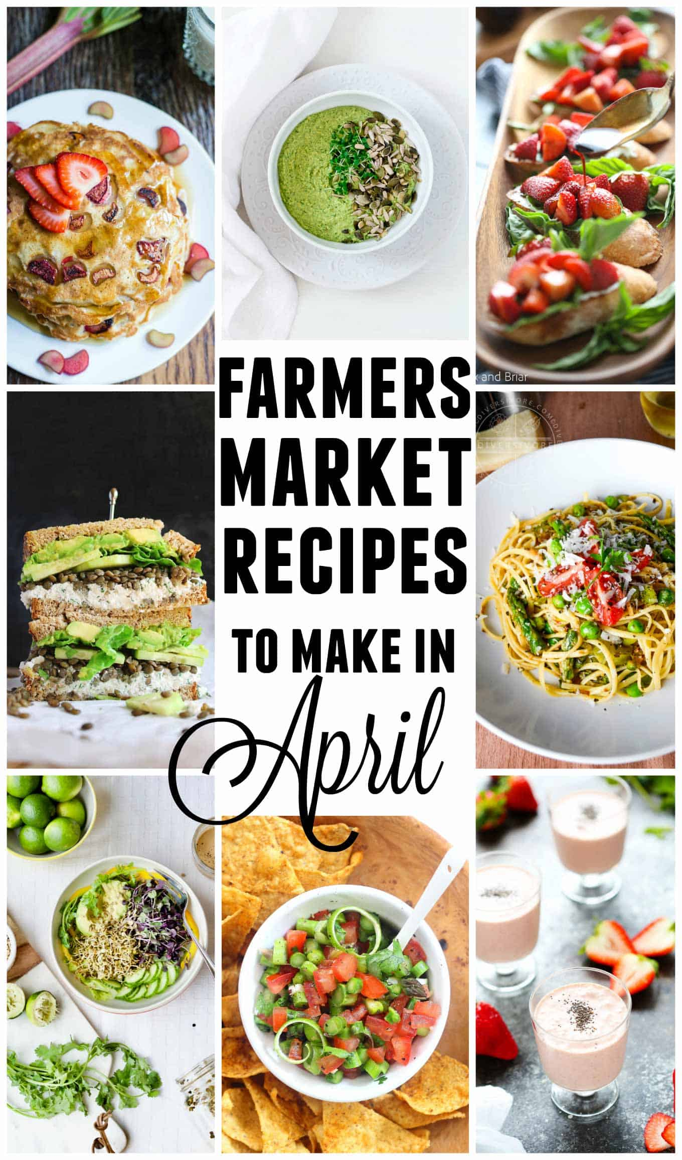 15 Farmers market recipes to make in April! Delicious, vegetarian, (mostly) healthy spring recipes made with fresh, seasonal produce from your local farmers market or CSA bin. Eat local! // Rhubarbarians