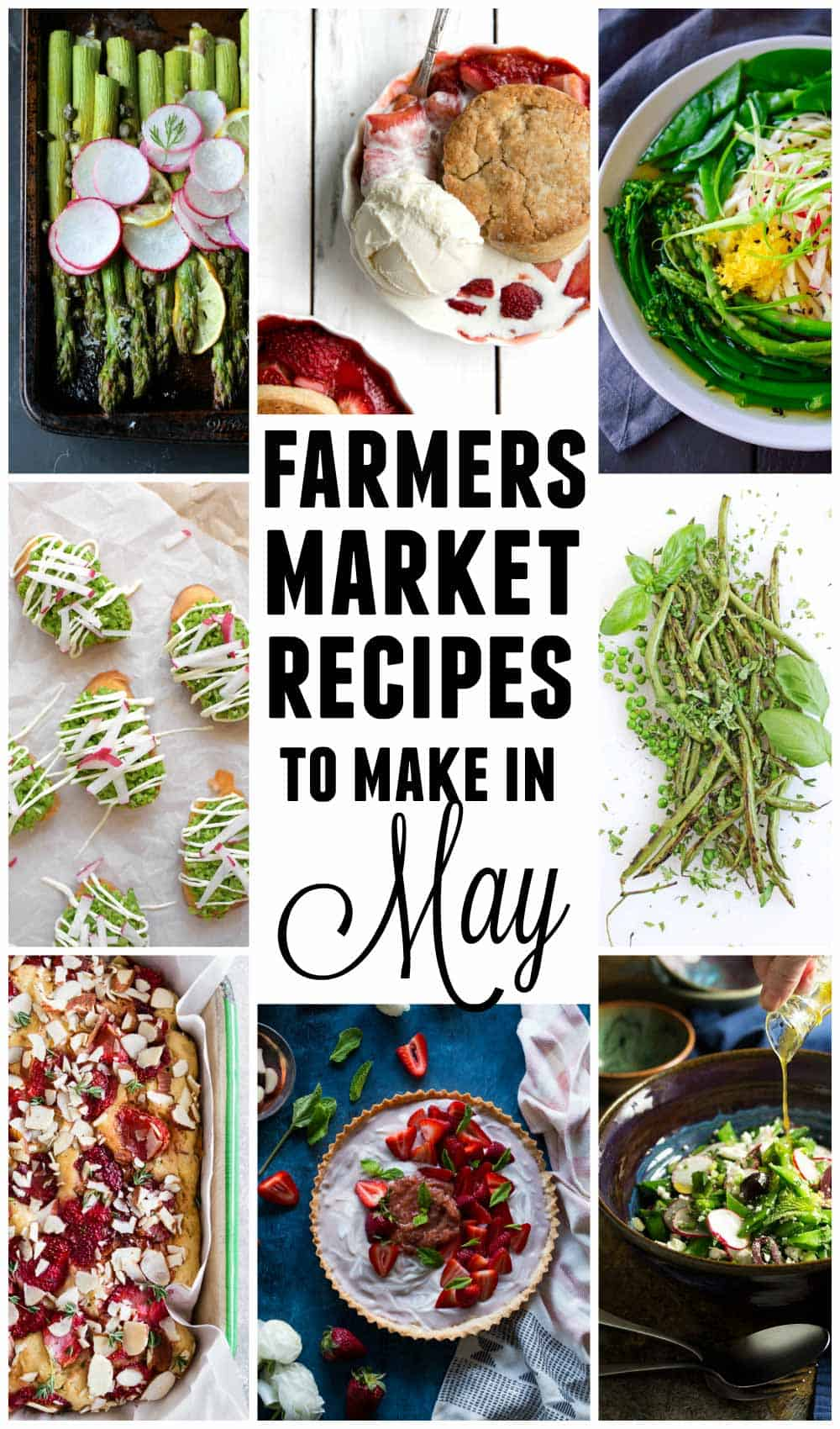 15 Farmers market recipes to make in May! Delicious, vegetarian, (mostly) healthy spring/summer recipes made with fresh, seasonal produce from your local farmers market or CSA bin. Eat local! // Rhubarbarians