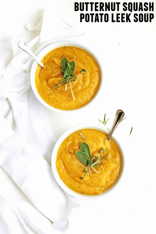 Golden potato and butternut squash leek soup recipe! So much more than your average potato leek soup. Vegan, healing, paleo, whole30, gluten free. // Rhubarbarians // #soup #vegan #paleo #whole30 #glutenfree #dairyfree #vegetarian