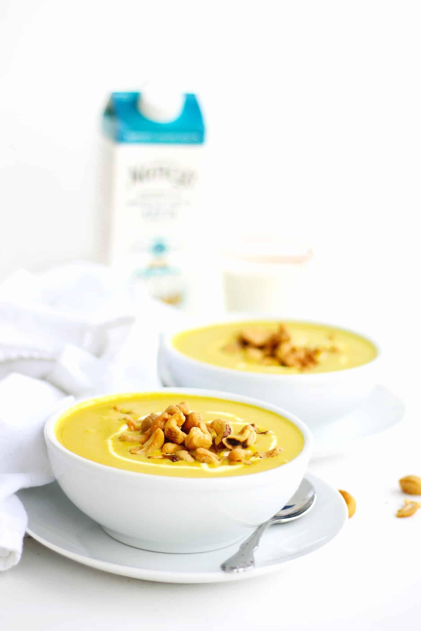 Coconut cauliflower golden soup with kefir recipe! A healing, turmeric golden milk soup with creamy cauliflower, sweet coconut, and tangy kefir. // Rhubarbarians
