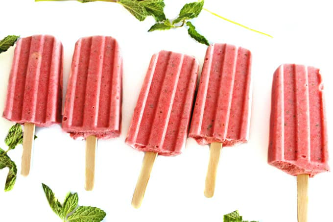 Strawberry basil ricotta popsicles