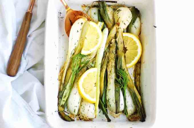 Roasted spring onions with dill butter and lemon