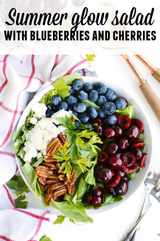 Summer glow salad with blueberries and cherries recipe! This healthy, vegetarian farmers market salad is loaded with fresh summer fruit and goat cheese. YUM! // Rhubarbarians
