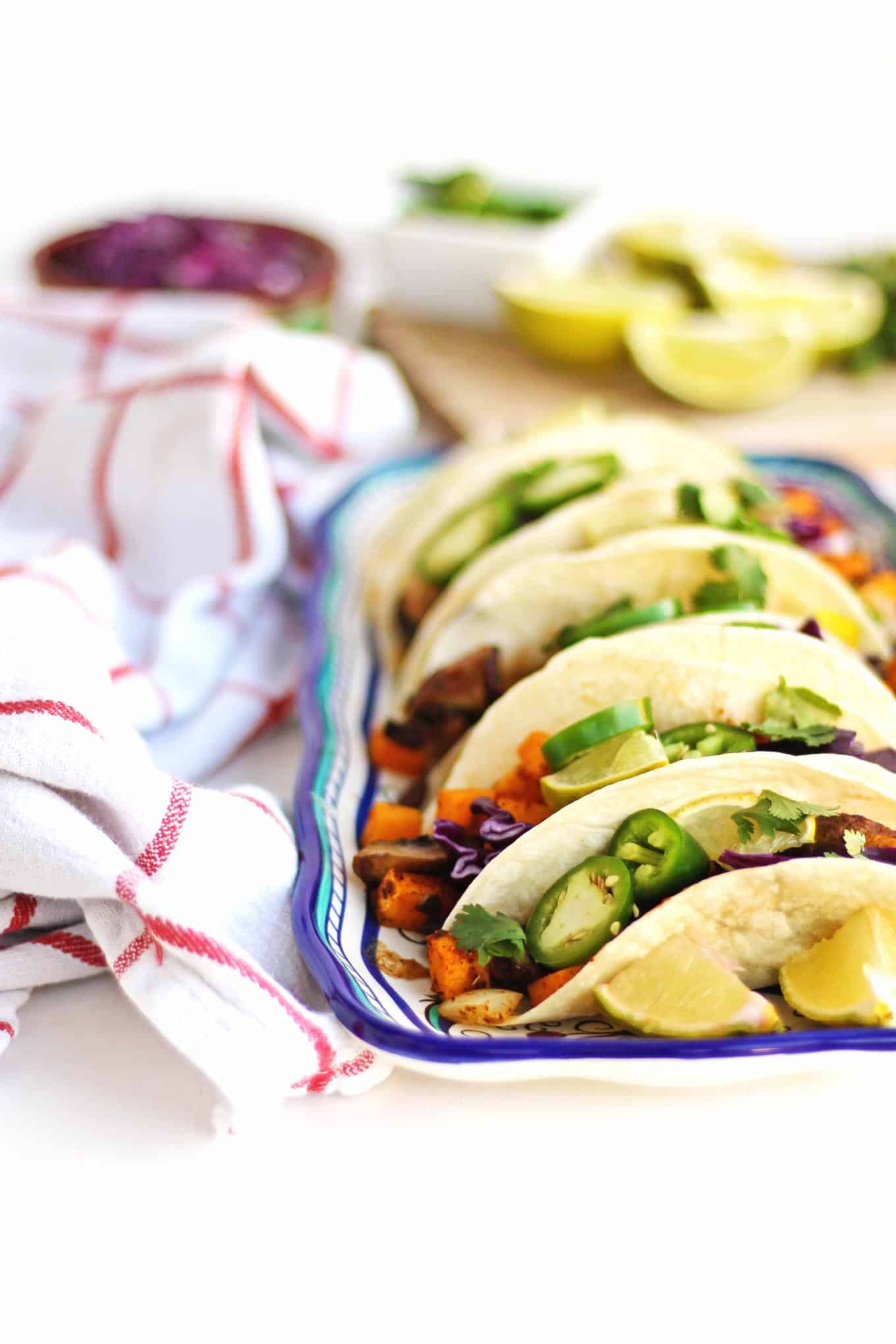 vegan black bean tacos on a plate