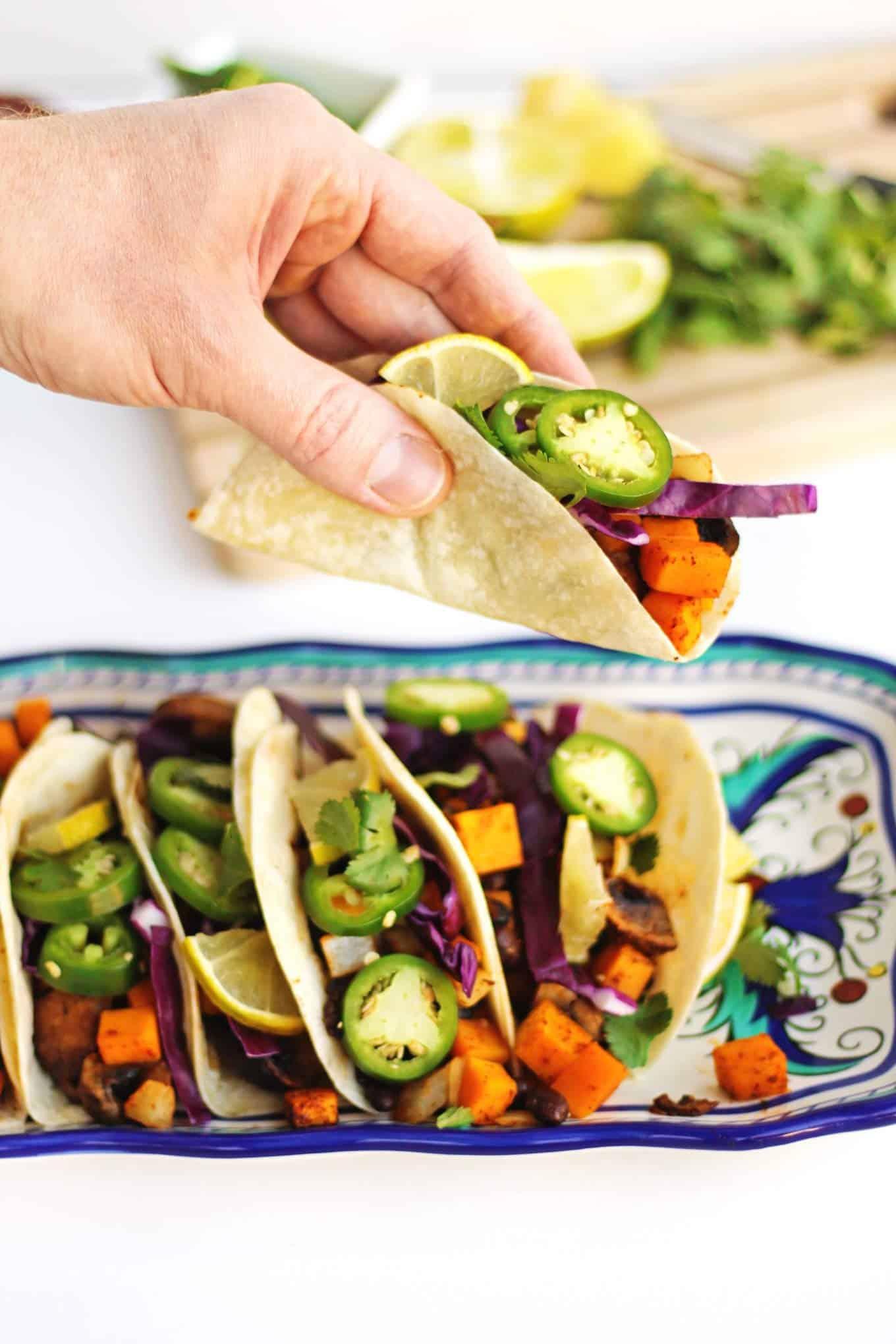 vegan black bean tacos