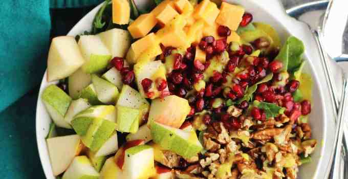 Pear and apple spinach salad with honey mustard dressing