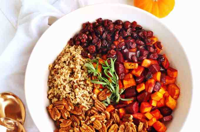 Sweet potato and beet wild rice salad