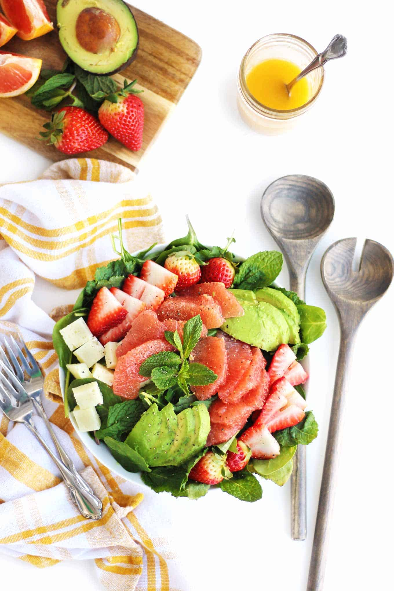 spring salad with strawberry