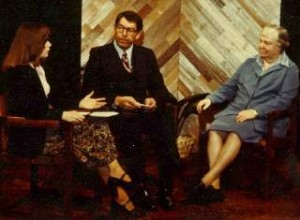 Karen with Idaho Governor John Evans and Washington Governor Dixy Lee Ray during a Spokane Weekly broadcast in the late 1970s.