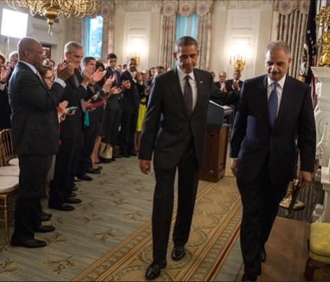 President Obama and Eric Holder at the White House after announcing Holder's resignation in September 2014.