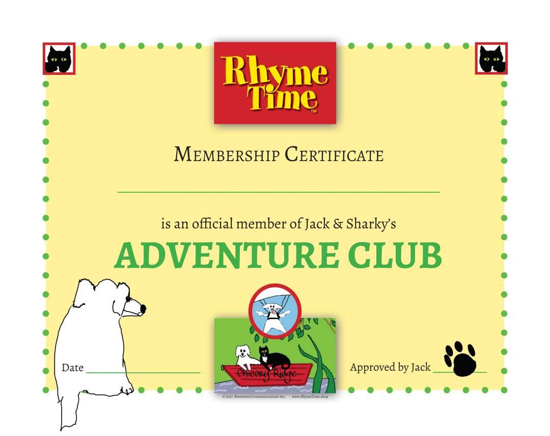 Jack & Sharky's Adventure Club Certificate