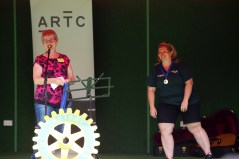 Trish Davies from Rotary awarding the Gnome Group Prize to Megan Callow from The J.UKERS