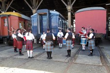 Wagga and District Highland Pipe Band performing at the Junee Round House