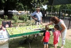 Model railway layout on display in Memorial Park