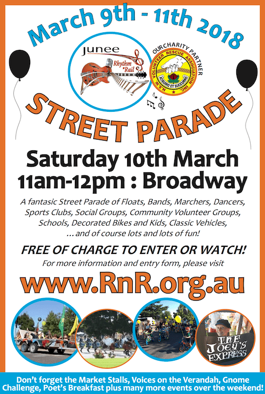 Advertisement promoting the 2018 Junee Rhythm n Rail Street Parade