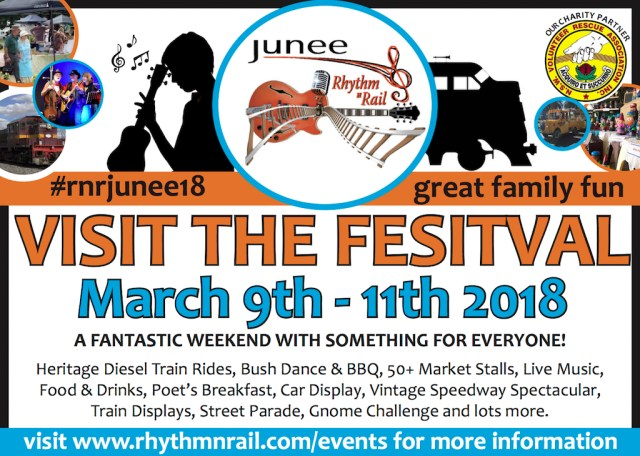 Advertisement promoting 2018 Junee Rhythm n Rail Festival, appeared in the February 22, 2018 issue of The Rural