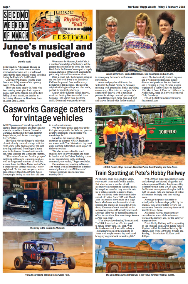 Junee's musical and festival pedigree Wagga Weekly, Page 6, February 9, 2018