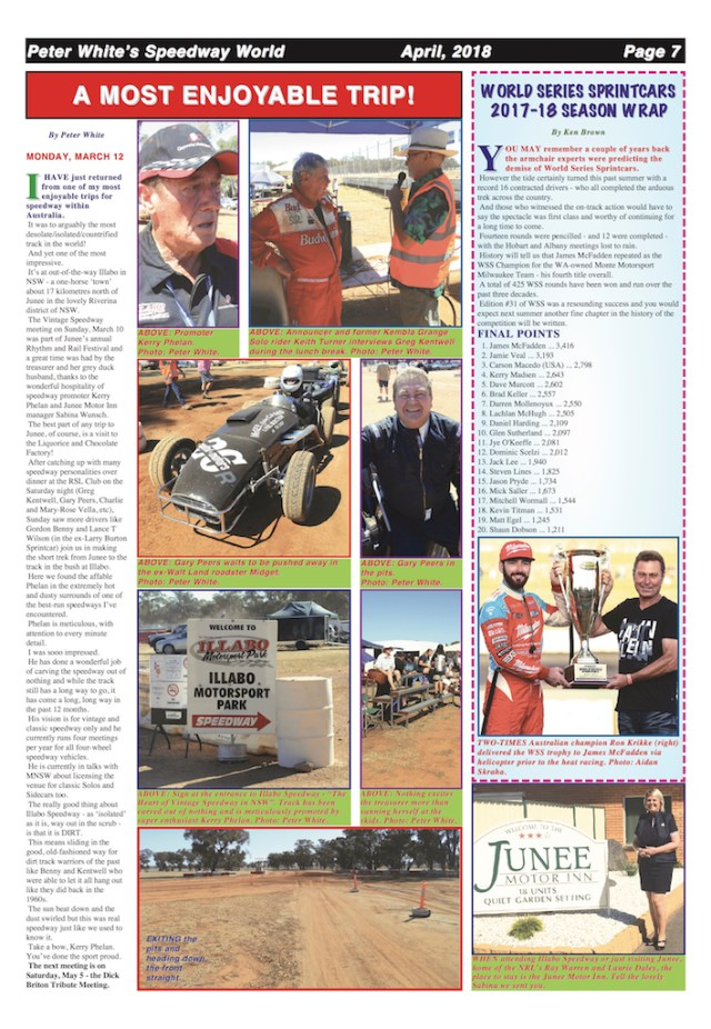 A Most Enjoyable Trip -- Peter White's Speedway World April 2018 -- Page 7