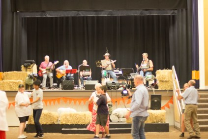 Enjoying the Junee Bush Dance, with the Tin Shed Rattlers on stage, at the Athenium Theatre