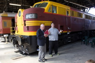 The Hon. Tim Fischer AC, Patron of Junee Rhythm n Rail Festival, with Nicholas Pyers, President of Rhythm n Rail at the Festival Launch Event held at the Junee Roundhouse Museum