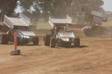The Sprintcar boys finishing their run and returning to the Pits at Illabo Motorsports Park