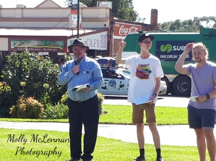 Cr Bob Callow, ably assisted by Matt Waters, commentating the Street Parade