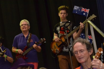 Tuggeranong Ukulele Group includes performers of all ages -- Performing in the Athenium Theatre, Junee [2015 Rhythm n Rail]