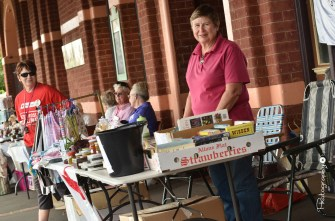 Pam Haliburton at the Red Cross stall outside the Broadway Museum [2015 Rhythm n Rail]