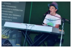 Harry Cleverdon, Winner of the 2016 Junee Talent Quest, performing on the Main Stage in Memorial Park [2016 Rhythm n Rail]