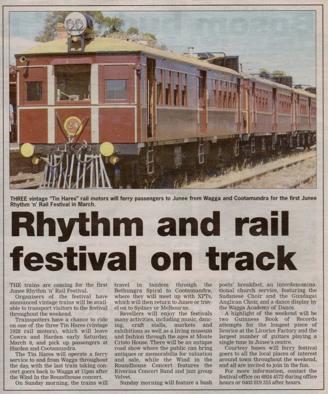 Rhythm and rail festival on track Junee Southern Cross. January 17, 2008. Page 8
