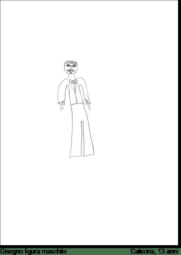 Caterina, 13 anni, nel disegnare un personaggio maschile, che poi definirà come la caricatura di suo padre, raffigura aspetti bizzarri, ma tra il serio e il faceto con l'assenza dei piedi la ragazza vuole simboleggiare la mancanza nella figura maschile di un principio di realtà.