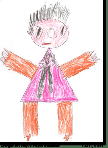 Gianni, 4 anni, disegna su una sagoma predisegnata di un corpo umano femminile.